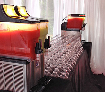 formal frozen drink set up for party
